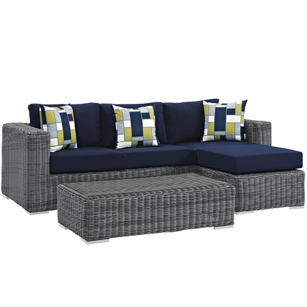 Modway Furniture Summon Navy 3pc Outdoor Sunbrella Sectional EEI-2397-GRY-NAV-SET