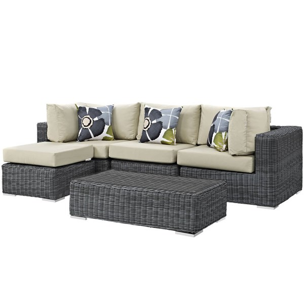Modway Furniture Summon 5pc Outdoor Patio Sunbrella Sectionals EEI-2398-GRY-SEC-VAR