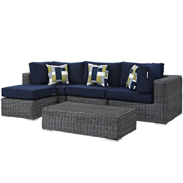 Modway Furniture Summon Navy 5pc Outdoor Patio Sectional EEI-2398-GRY-NAV-SET