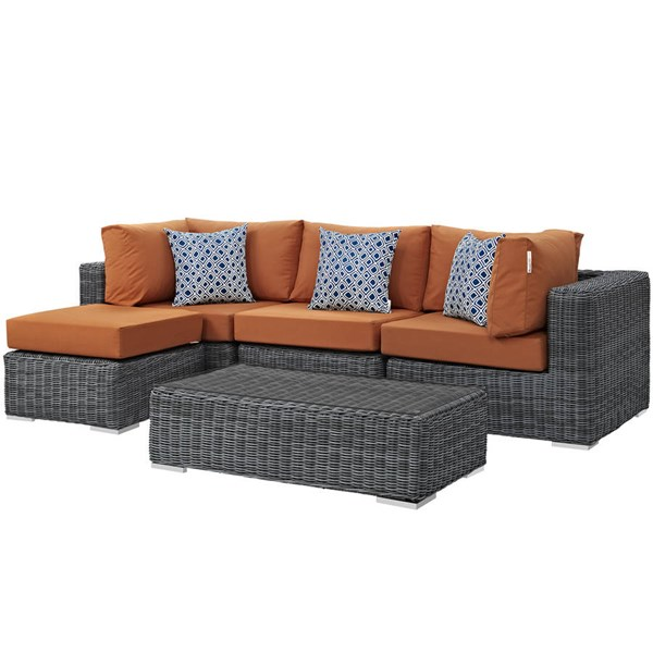 Modway Furniture Summon Tuscan 5pc Outdoor Patio Sectional EEI-2398-GRY-TUS-SET