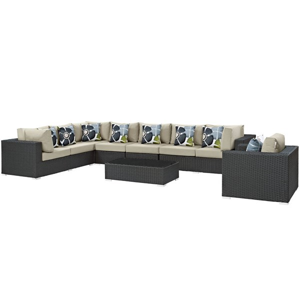 Modway Furniture Sojourn Chocolate Beige 7pc Outdoor Patio Sectional EEI-2399-CHC-BEI-SET