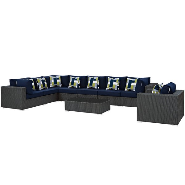 Modway Furniture Sojourn Chocolate Navy 7pc Outdoor Patio Sectional EEI-2399-CHC-NAV-SET
