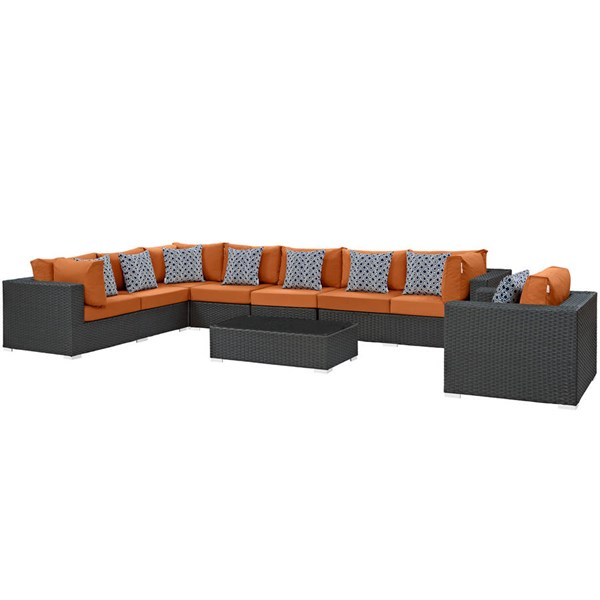 Modway Furniture Sojourn Chocolate Tuscan 7pc Outdoor Patio Sectional EEI-2399-CHC-TUS-SET