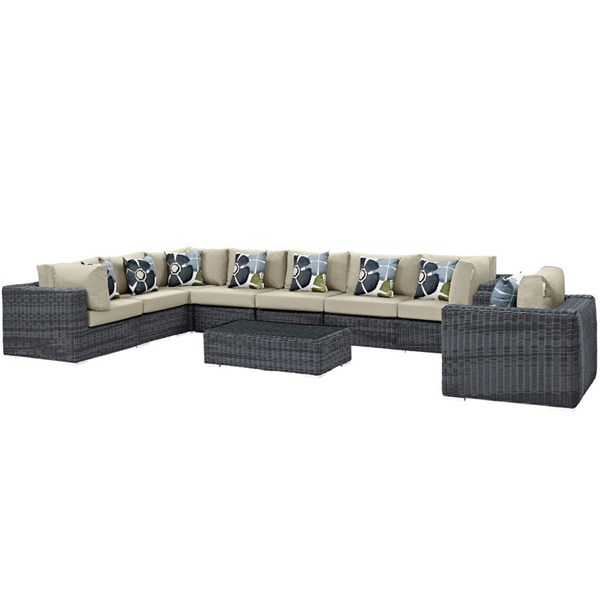 Modway Furniture Summon Beige 7pc Outdoor Patio Sunbrella Sectional EEI-2400-GRY-BEI-SET