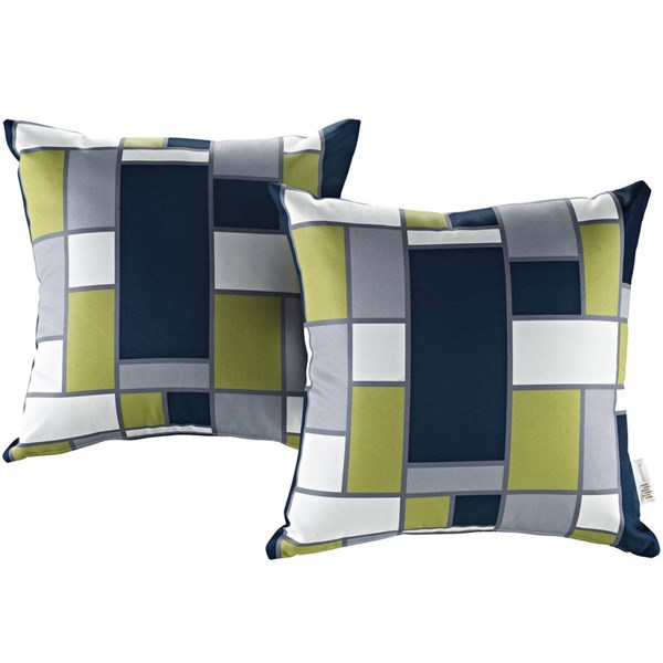 2 Modway Furniture Blue White Outdoor Patio Pillows EEI-2401-REC