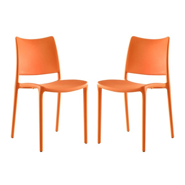 2 Modway Furniture Hipster Orange Dining Side Chairs EEI-2424-ORA-SET