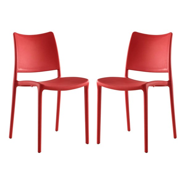 2 Modway Furniture Hipster Red Dining Side Chairs EEI-2424-RED-SET