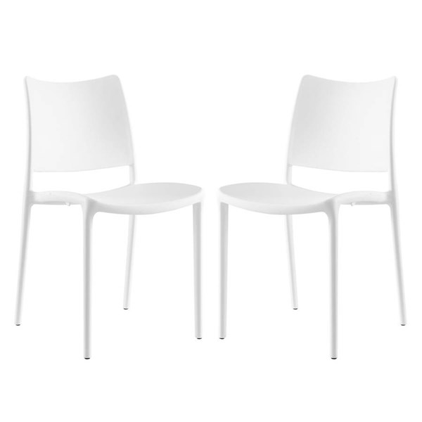 2 Modway Furniture Hipster White Dining Side Chairs EEI-2424-WHI-SET