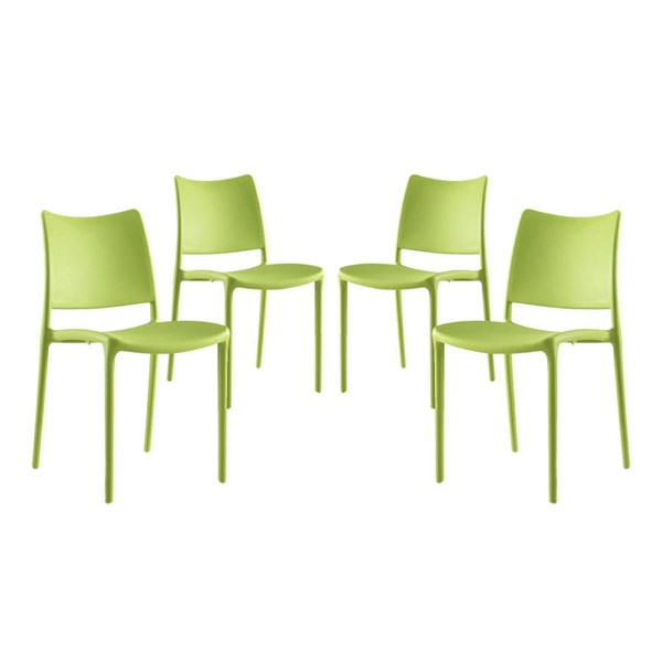 4 Modway Furniture Hipster Green Dining Side Chairs EEI-2425-GRN-SET