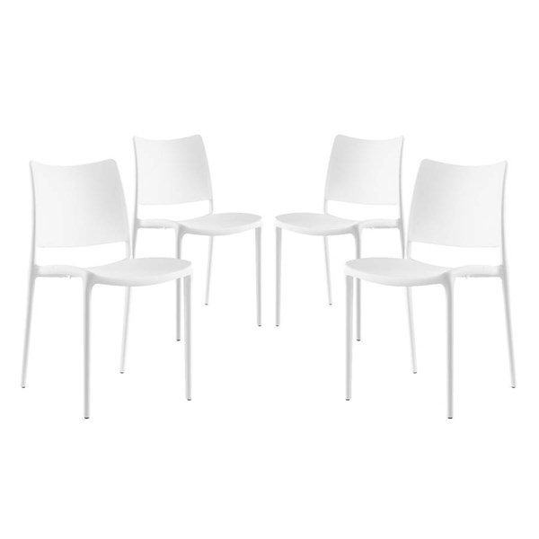 4 Modway Furniture Hipster White Dining Side Chairs EEI-2425-WHI-SET