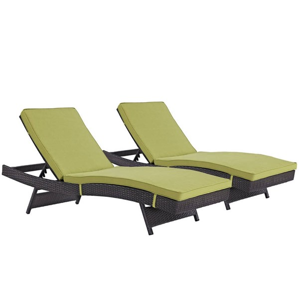 2 Modway Furniture Convene Espresso Peridot Outdoor Patio Chaise EEI-2428-EXP-PER-SET