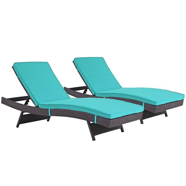 2 Modway Furniture Convene Espresso Turquoise Outdoor Patio Chaise EEI-2428-EXP-TRQ-SET