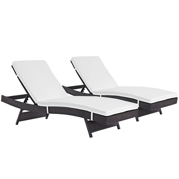 2 Modway Furniture Convene Espresso White Outdoor Patio Chaise EEI-2428-EXP-WHI-SET