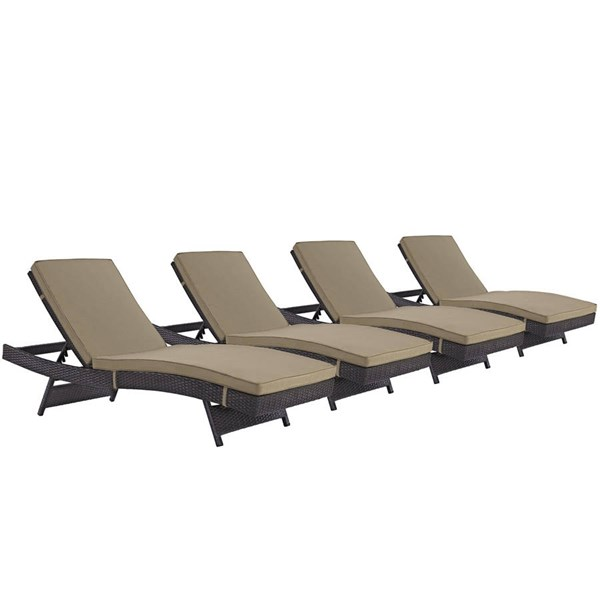 4 Modway Furniture Convene Espresso Mocha Outdoor Patio Chaise EEI-2429-EXP-MOC-SET