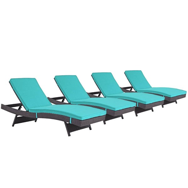 4 Modway Furniture Convene Espresso Turquoise Outdoor Patio Chaise EEI-2429-EXP-TRQ-SET