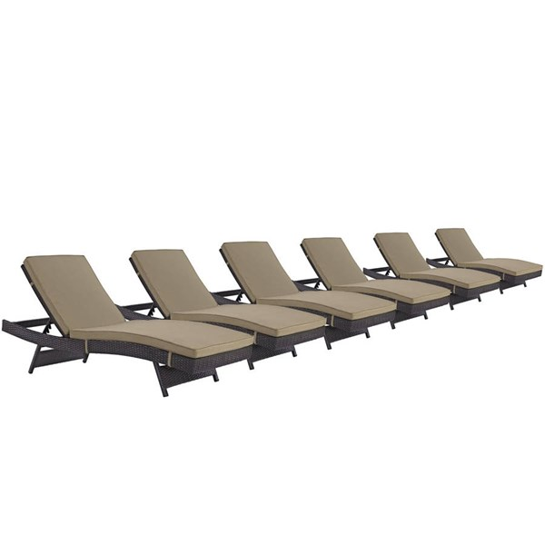 6 Modway Furniture Convene Espresso Mocha Outdoor Patio Chaise EEI-2430-EXP-MOC-SET