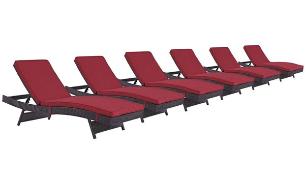 6 Modway Furniture Convene Espresso Red Outdoor Patio Chaise EEI-2430-EXP-RED-SET