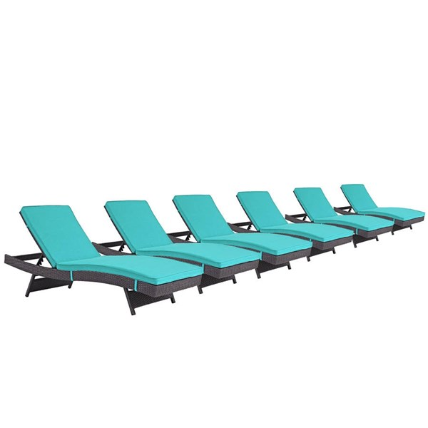 6 Modway Furniture Convene Espresso Turquoise Outdoor Patio Chaise EEI-2430-EXP-TRQ-SET