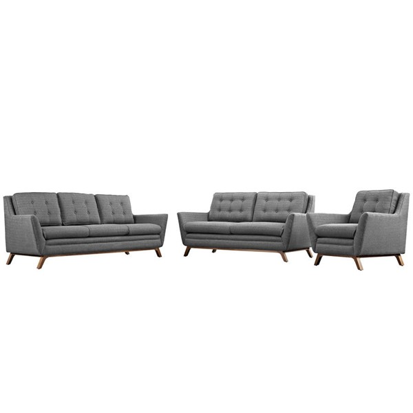 Modway Furniture Beguile Gray 3pc Living Room Set EEI-2431-DOR-SET