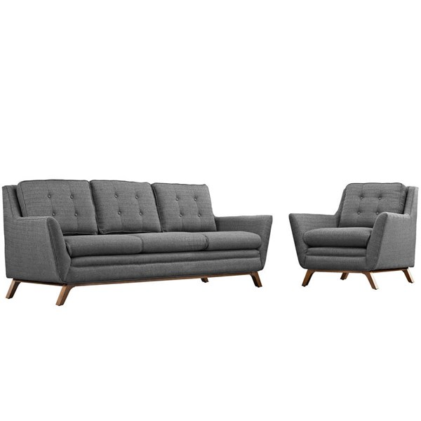 Modway Furniture Beguile Gray 2pc Living Room Set with Sofa EEI-2433-DOR-SET