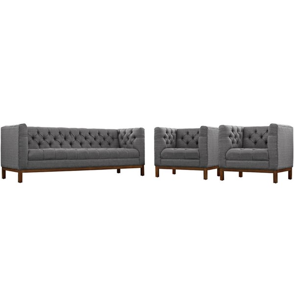 Modway Furniture Panache Gray 3pc Living Room Set EEI-2435-DOR-SET