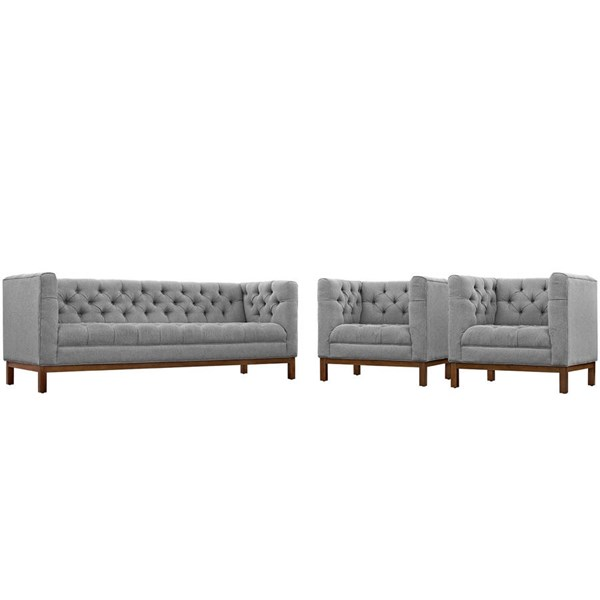 Modway Furniture Panache Expectation Gray 3pc Living Room Set EEI-2435-GRY-SET