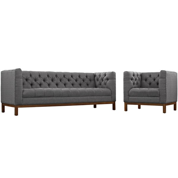Modway Furniture Panache Gray Fabric 2pc Living Room Set EEI-2437-DOR-SET