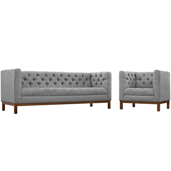Modway Furniture Panache Vintage Gray Fabric 2pc Living Room Set EEI-2437-GRY-SET