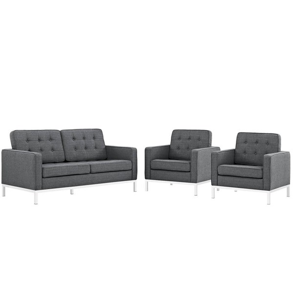 Modway Furniture Loft Gray Fabric 3pc Living Room Set EEI-2438-DOR-SET