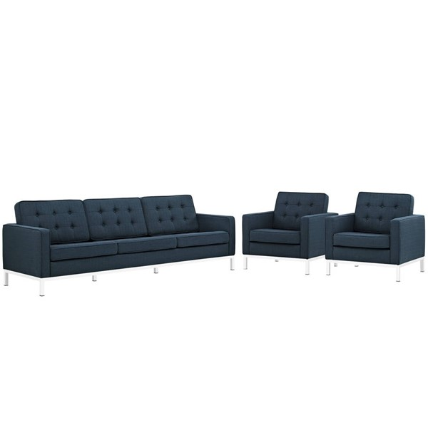 Modway Furniture Loft Azure 3pc Sofa and Armchair Set EEI-2439-AZU-SET
