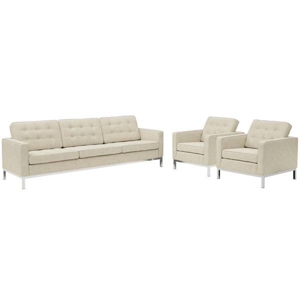 Modway Furniture Loft Beige 3pc Sofa and Armchair Set EEI-2439-BEI-SET