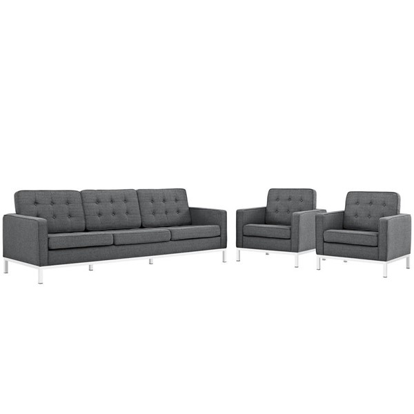 Modway Furniture Loft Gray 3pc Sofa and Armchair Set EEI-2439-DOR-SET