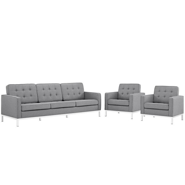 Modway Furniture Loft Light Gray 3pc Living Room Set EEI-2439-LGR-SET