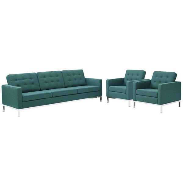 Modway Furniture Loft Teal 3pc Sofa and Armchair Set EEI-2439-TEA-SET
