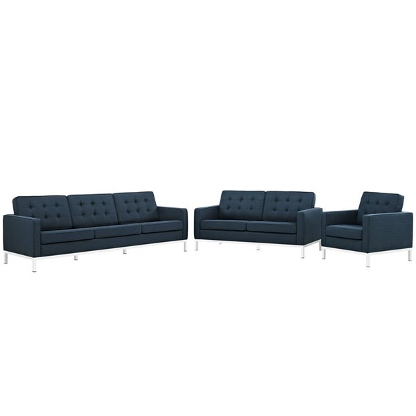Modway Furniture Loft Azure Fabric 3pc Living Room Set EEI-2441-AZU-SET