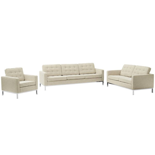 Modway Furniture Loft Beige Fabric 3pc Living Room Set EEI-2441-BEI-SET