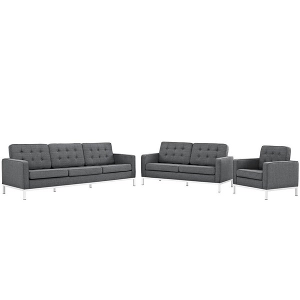 Modway Furniture Loft Gray Fabric 3pc Living Room Set EEI-2441-DOR-SET