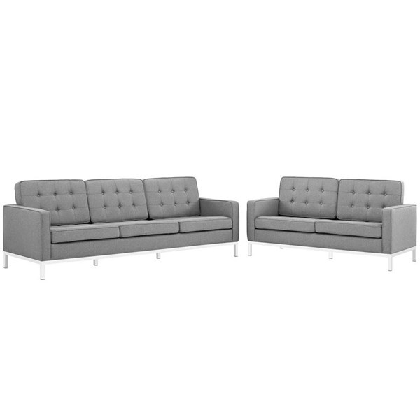 Modway Furniture Loft Light Gray Fabric Sofa and Loveseat Set EEI-2444-LGR-SET
