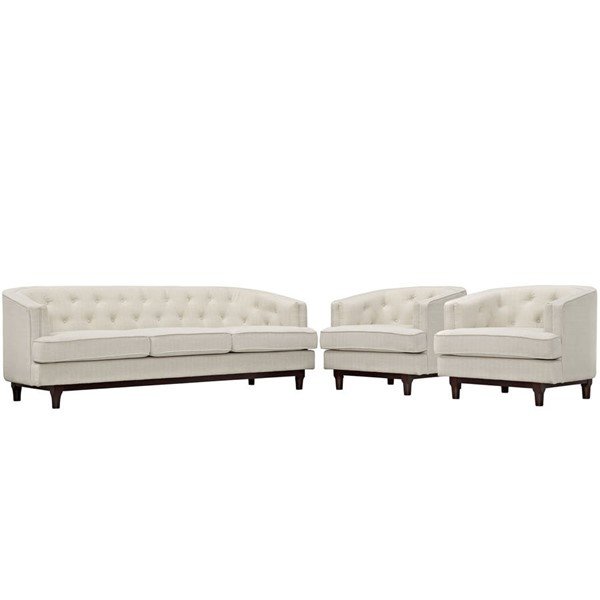 Modway Furniture Coast Beige 3pc Living Room Set EEI-2448-BEI-SET