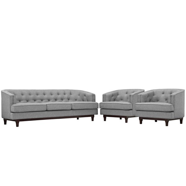 Modway Furniture Coast Light Gray 3pc Living Room Set EEI-2448-LGR-SET