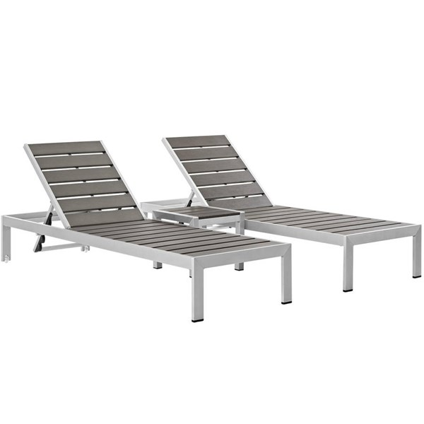 Modway Furniture Shore Wood 3pc Outdoor Patio Set EEI-2466-SLV-GRY-SET