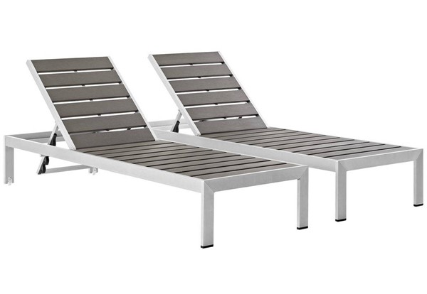 2 Modway Furniture Wood Shore Outdoor Chaise EEI-2467-SLV-GRY-SET