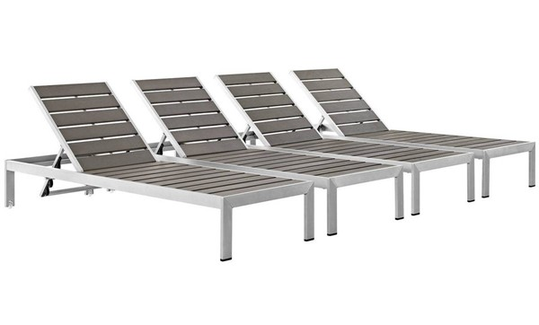 4 Modway Furniture Wood Shore Outdoor Chaise EEI-2468-SLV-GRY-SET