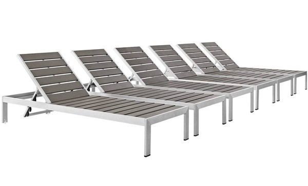 6 Modway Furniture Wood Shore Outdoor Chaise EEI-2469-SLV-GRY-SET