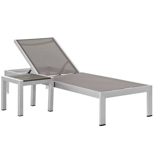 Modway Furniture Shore Silver Gray 2pc Outdoor Chaise and Side Table Set EEI-2470-SLV-GRY-SET