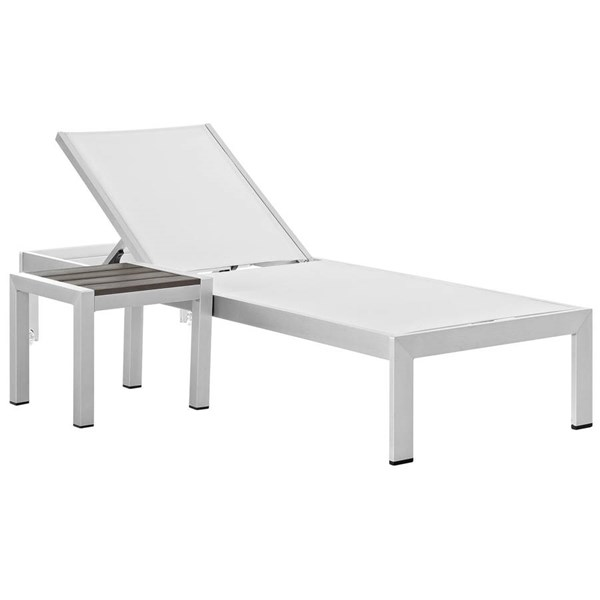 Modway Furniture Shore Silver White 2pc Outdoor Chaise and Side Table Set EEI-2470-SLV-WHI-SET