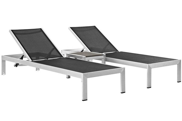 Modway Furniture Shore Silver Black 3pc Outdoor Chaise and Side Table Set EEI-2471-SLV-BLK-SET