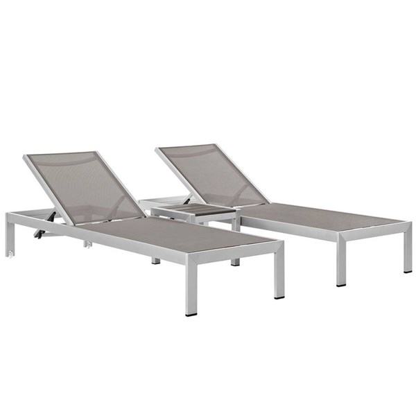 Modway Furniture Shore Silver Gray 3pc Outdoor Chaise and Side Table Set EEI-2471-SLV-GRY-SET