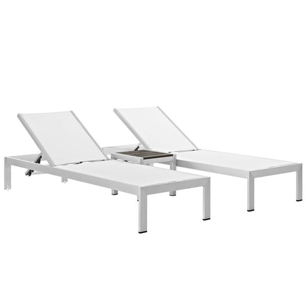 Modway Furniture Shore Silver White 3pc Outdoor Chaise and Side Table Set EEI-2471-SLV-WHI-SET