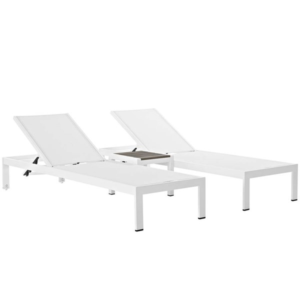 Modway Furniture Shore White 3pc Outdoor Chaise and Side Table Set EEI-2471-WHI-WHI-SET